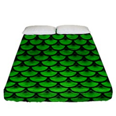 Scales3 Black Marble & Green Brushed Metal (r) Fitted Sheet (queen Size) by trendistuff