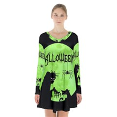 Halloween Long Sleeve Velvet V Neck Dress