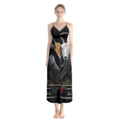 Spiritual Goat Button Up Chiffon Maxi Dress by Valentinaart