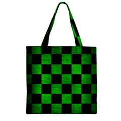 Square1 Black Marble & Green Brushed Metal Zipper Grocery Tote Bag by trendistuff