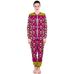 Going Gold Or Metal On Fern Pop Art Onepiece Jumpsuit (ladies)  by pepitasart