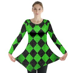 Square2 Black Marble & Green Brushed Metal Long Sleeve Tunic