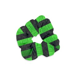 Stripes1 Black Marble & Green Brushed Metal Velvet Scrunchie by trendistuff