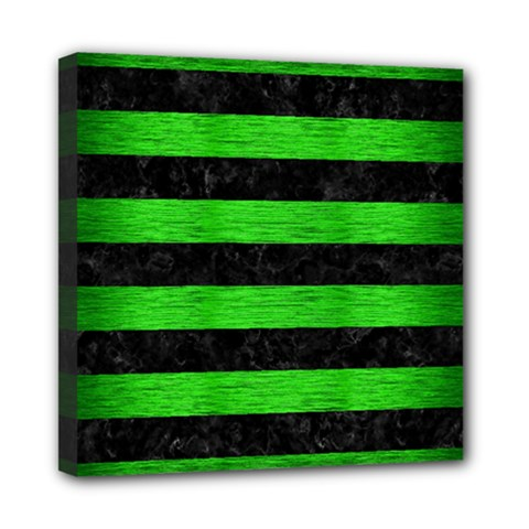 Stripes2 Black Marble & Green Brushed Metal Mini Canvas 8  X 8  by trendistuff