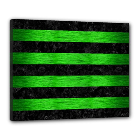 Stripes2 Black Marble & Green Brushed Metal Canvas 20  X 16  by trendistuff