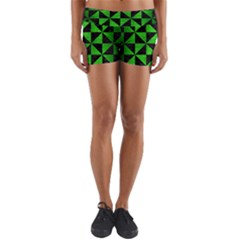 Triangle1 Black Marble & Green Brushed Metal Yoga Shorts