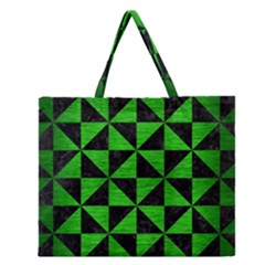 Triangle1 Black Marble & Green Brushed Metal Zipper Large Tote Bag