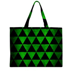 Triangle3 Black Marble & Green Brushed Metal Zipper Mini Tote Bag by trendistuff