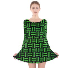 Woven1 Black Marble & Green Brushed Metal Long Sleeve Velvet Skater Dress