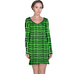 Woven1 Black Marble & Green Brushed Metal (r) Long Sleeve Nightdress