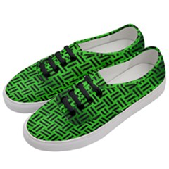 Woven1 Black Marble & Green Brushed Metal (r) Women s Classic Low Top Sneakers by trendistuff