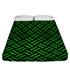 Woven2 Black Marble & Green Brushed Metal Fitted Sheet (california King Size) by trendistuff