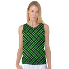 Woven2 Black Marble & Green Brushed Metal Women s Basketball Tank Top by trendistuff