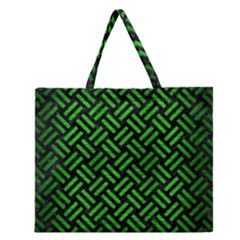Woven2 Black Marble & Green Brushed Metal Zipper Large Tote Bag