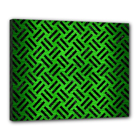 Woven2 Black Marble & Green Brushed Metal (r) Canvas 20  X 16  by trendistuff