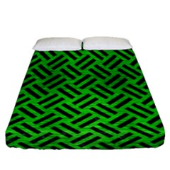 Woven2 Black Marble & Green Brushed Metal (r) Fitted Sheet (queen Size) by trendistuff