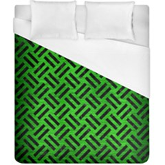 Woven2 Black Marble & Green Brushed Metal (r) Duvet Cover (california King Size) by trendistuff