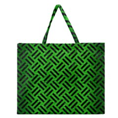 Woven2 Black Marble & Green Brushed Metal (r) Zipper Large Tote Bag