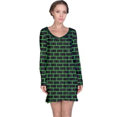 Brick1 Black Marble & Green Colored Pencil Long Sleeve Nightdress