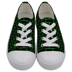 Brick1 Black Marble & Green Colored Pencil Kids  Low Top Canvas Sneakers