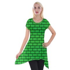 Brick1 Black Marble & Green Colored Pencil (r) Short Sleeve Side Drop Tunic