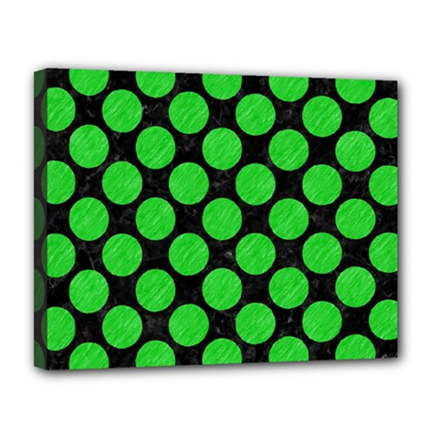 Circles2 Black Marble & Green Colored Pencil Canvas 14  X 11  by trendistuff