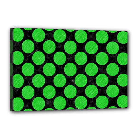 Circles2 Black Marble & Green Colored Pencil Canvas 18  X 12  by trendistuff
