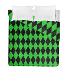 Diamond1 Black Marble & Green Colored Pencil Duvet Cover Double Side (full/ Double Size)