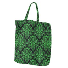 Damask1 Black Marble & Green Colored Pencil Giant Grocery Zipper Tote by trendistuff