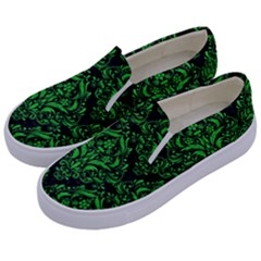 Damask1 Black Marble & Green Colored Pencil Kids  Canvas Slip Ons by trendistuff
