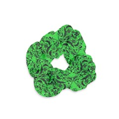 Damask1 Black Marble & Green Colored Pencil (r) Velvet Scrunchie by trendistuff