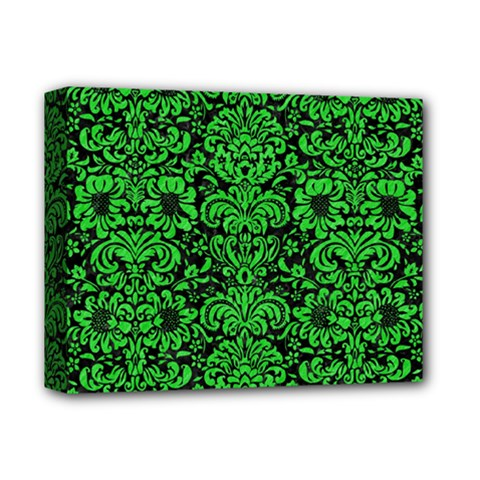 Damask2 Black Marble & Green Colored Pencil Deluxe Canvas 14  X 11  by trendistuff