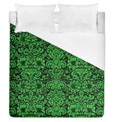 Damask2 Black Marble & Green Colored Pencil Duvet Cover (queen Size) by trendistuff
