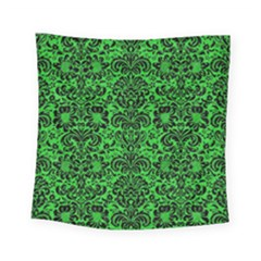 Damask2 Black Marble & Green Colored Pencil (r) Square Tapestry (small) by trendistuff
