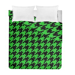 Houndstooth1 Black Marble & Green Colored Pencil Duvet Cover Double Side (full/ Double Size)