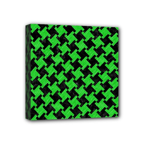 Houndstooth2 Black Marble & Green Colored Pencil Mini Canvas 4  X 4  by trendistuff