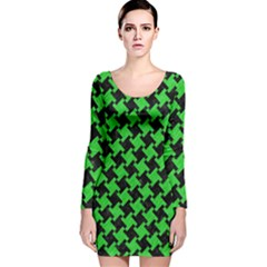 Houndstooth2 Black Marble & Green Colored Pencil Long Sleeve Velvet Bodycon Dress