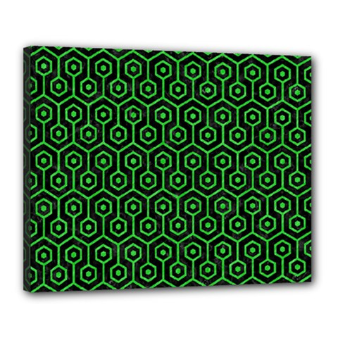 Hexagon1 Black Marble & Green Colored Pencil Canvas 20  X 16  by trendistuff