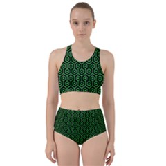 Hexagon1 Black Marble & Green Colored Pencil Racer Back Bikini Set