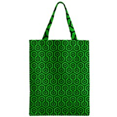 Hexagon1 Black Marble & Green Colored Pencil (r) Zipper Classic Tote Bag by trendistuff