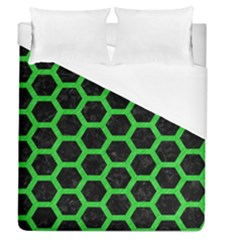 Hexagon2 Black Marble & Green Colored Pencil Duvet Cover (queen Size) by trendistuff