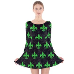 Royal1 Black Marble & Green Colored Pencil (r) Long Sleeve Velvet Skater Dress