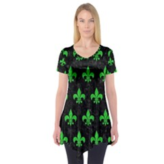 Royal1 Black Marble & Green Colored Pencil (r) Short Sleeve Tunic