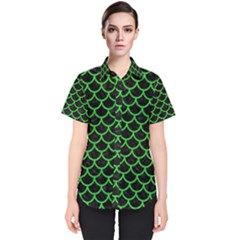 Scales1 Black Marble & Green Colored Pencil Women s Short Sleeve Shirt