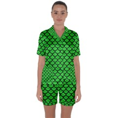 Scales1 Black Marble & Green Colored Pencil (r) Satin Short Sleeve Pyjamas Set