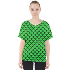 Scales1 Black Marble & Green Colored Pencil (r) V Neck Dolman Drape Top