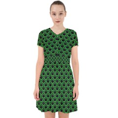 Scales2 Black Marble & Green Colored Pencil Adorable In Chiffon Dress