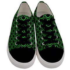 Scales2 Black Marble & Green Colored Pencil Men s Low Top Canvas Sneakers