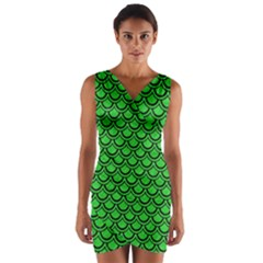 Scales2 Black Marble & Green Colored Pencil (r) Wrap Front Bodycon Dress