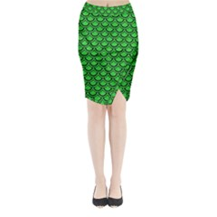 Scales2 Black Marble & Green Colored Pencil (r) Midi Wrap Pencil Skirt by trendistuff